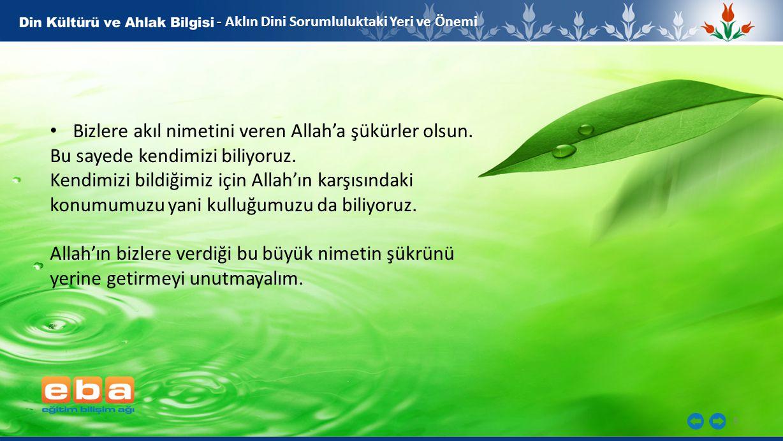 Bizlere akıl nimetini veren Allah'a şükürler olsun.