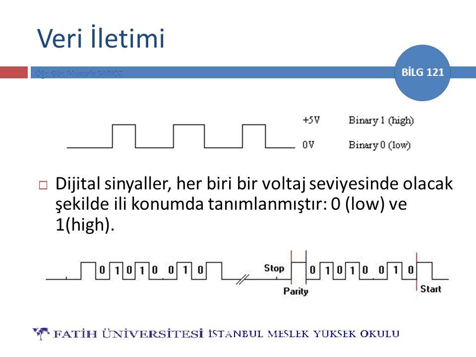 Veri İletimi Dijital sinyaller, her biri bir voltaj seviyesinde olacak şekilde ili konumda tanımlanmıştır: 0 (low) ve 1(high).