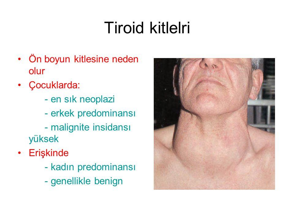 Tiroid kitlelri Ön boyun kitlesine neden olur Çocuklarda: