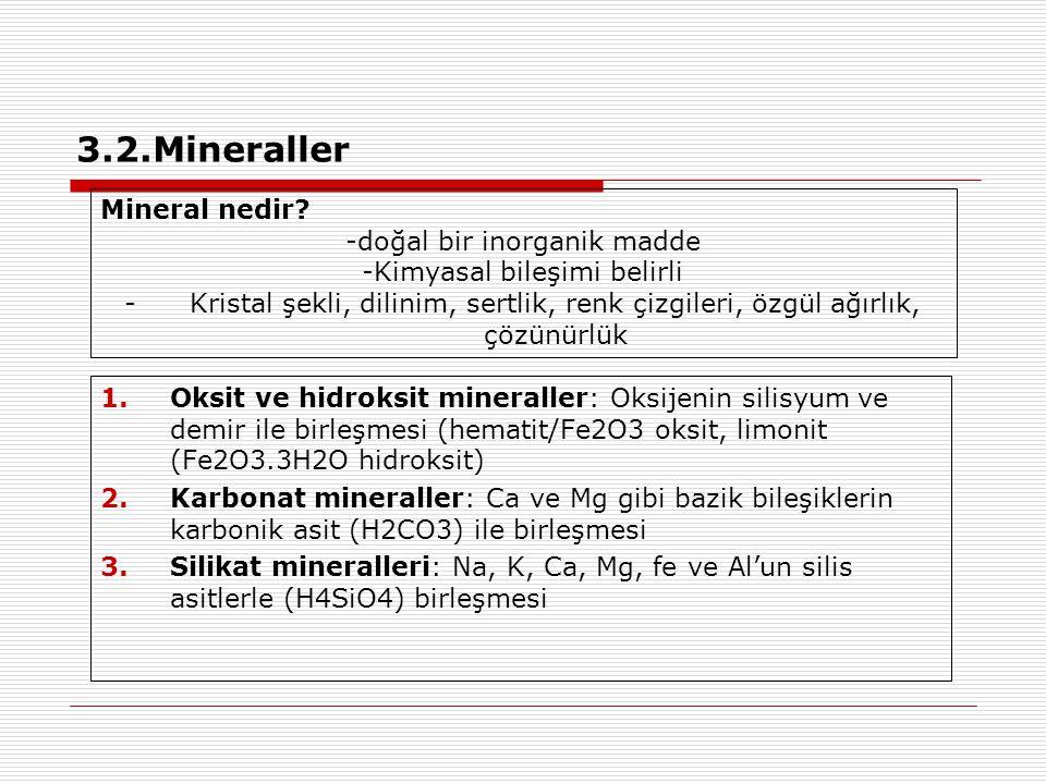 3.2.Mineraller Mineral nedir -doğal bir inorganik madde