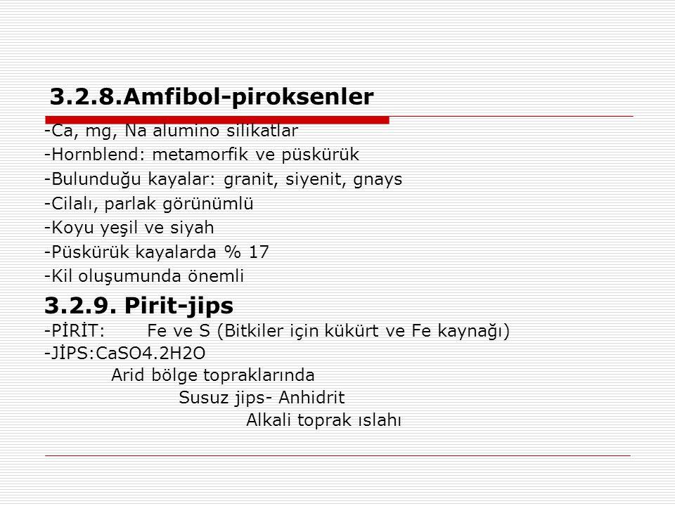 3.2.8.Amfibol-piroksenler 3.2.9. Pirit-jips