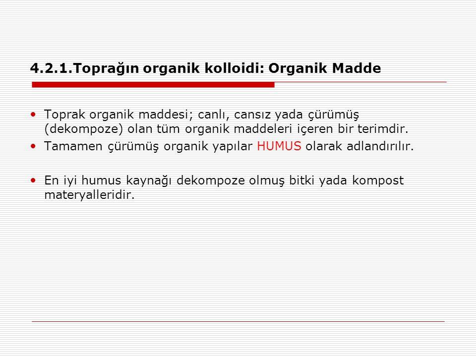 4.2.1.Toprağın organik kolloidi: Organik Madde