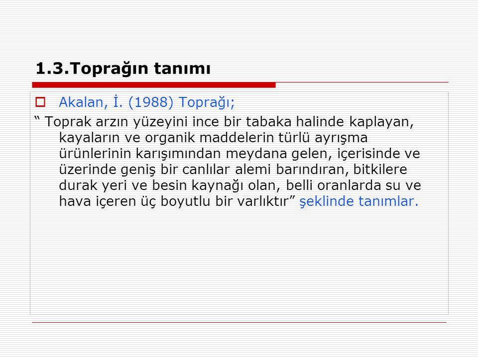 1.3.Toprağın tanımı Akalan, İ. (1988) Toprağı;