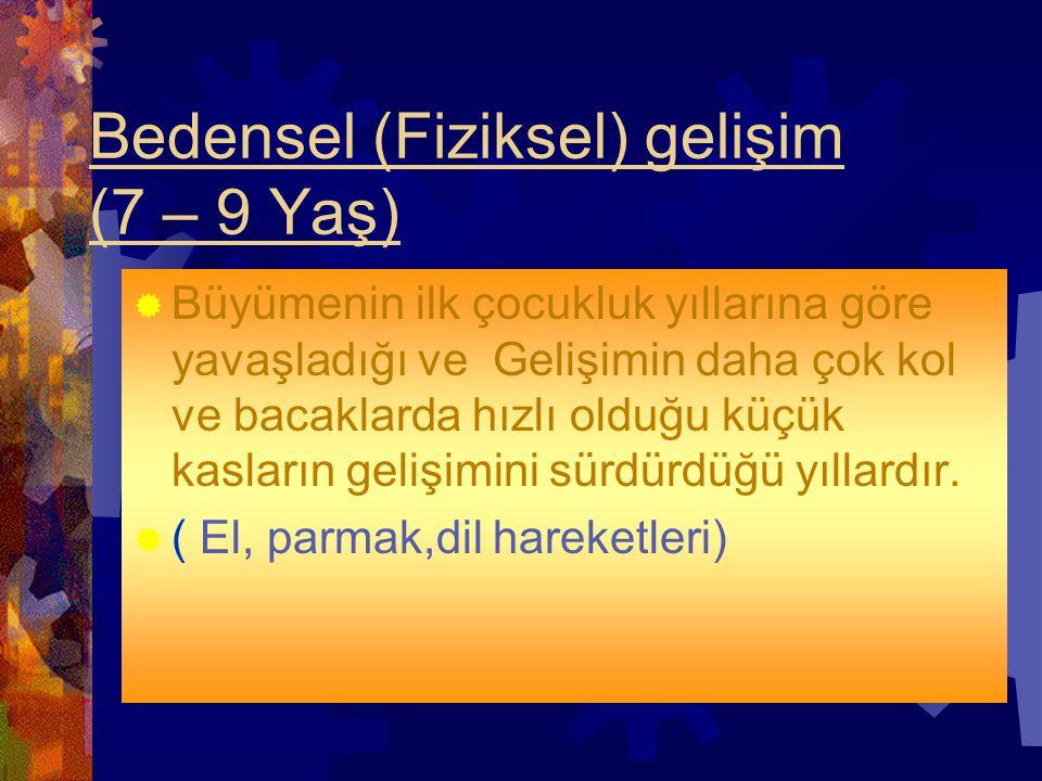 Bedensel (Fiziksel) gelişim (7 – 9 Yaş)