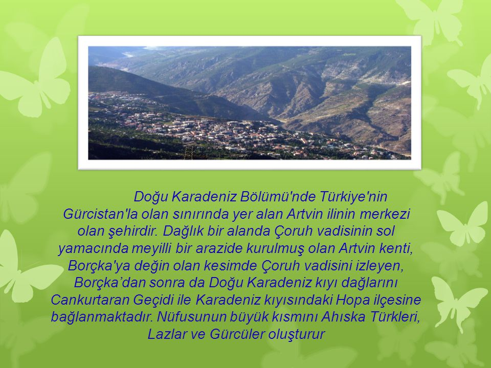 Doğu Karadeniz Bölümü nde Türkiye nin Gürcistan la olan sınırında yer alan Artvin ilinin merkezi olan şehirdir.