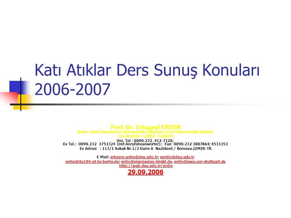 Katı Atıklar Ders Sunuş Konuları 2006-2007