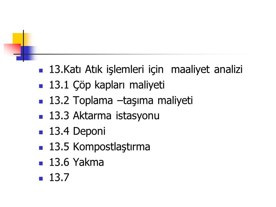 13.Katı Atık işlemleri için maaliyet analizi