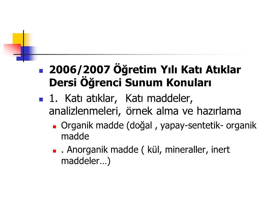 2006/2007 Öğretim Yılı Katı Atıklar Dersi Öğrenci Sunum Konuları