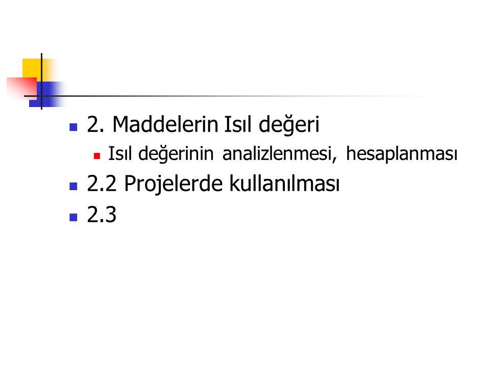 2. Maddelerin Isıl değeri 2.2 Projelerde kullanılması 2.3