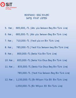 5. Kat ; 685,000,.-TL (Altı yüz Seksen Beş Bin Türk Lira)