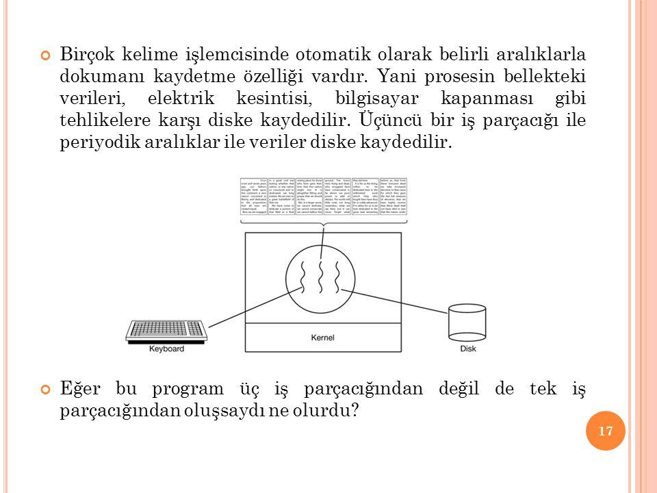Birçok kelime işlemcisinde otomatik olarak belirli aralıklarla dokumanı kaydetme özelliği vardır. Yani prosesin bellekteki verileri, elektrik kesintisi, bilgisayar kapanması gibi tehlikelere karşı diske kaydedilir. Üçüncü bir iş parçacığı ile periyodik aralıklar ile veriler diske kaydedilir.