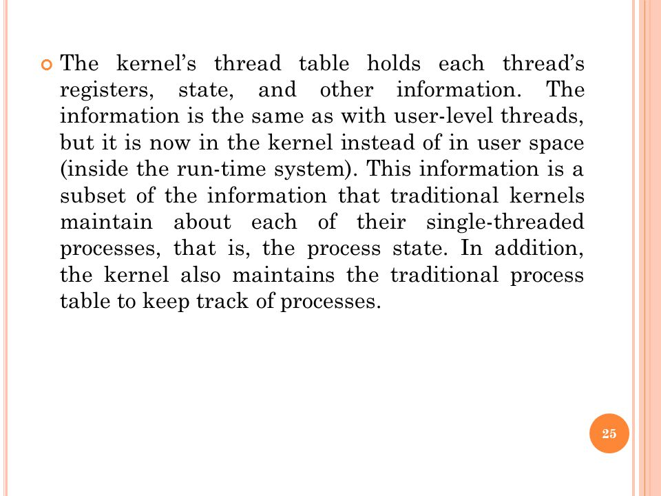 The kernel's thread table holds each thread's registers, state, and other information.