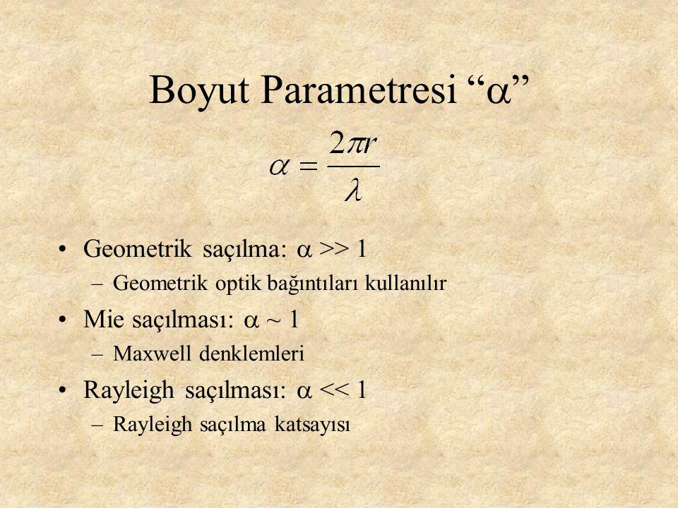 Boyut Parametresi  Geometrik saçılma: a >> 1