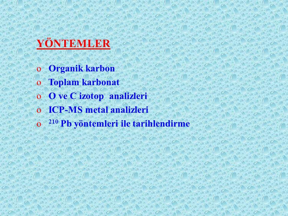 YÖNTEMLER Organik karbon Toplam karbonat O ve C izotop analizleri