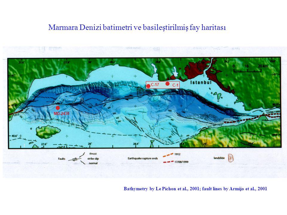 Marmara Denizi batimetri ve basileştirilmiş fay haritası