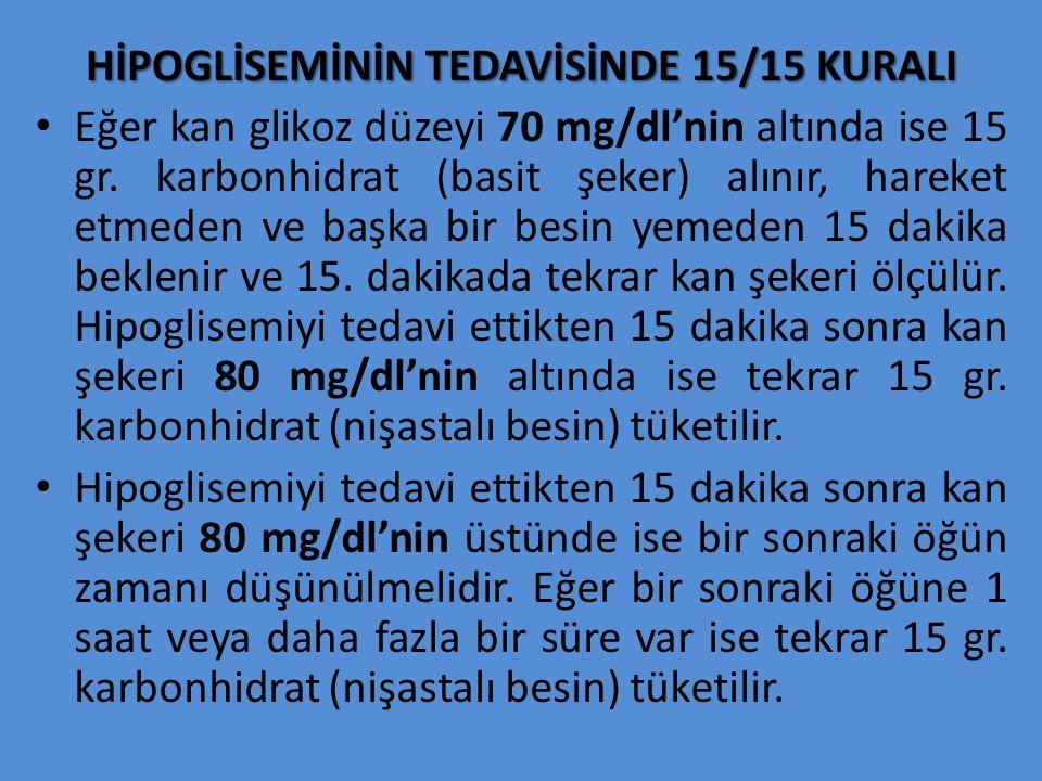 HİPOGLİSEMİNİN TEDAVİSİNDE 15/15 KURALI