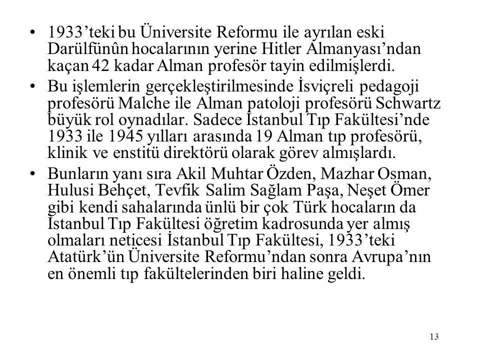 1933'teki bu Üniversite Reformu ile ayrılan eski Darülfünûn hocalarının yerine Hitler Almanyası'ndan kaçan 42 kadar Alman profesör tayin edilmişlerdi.