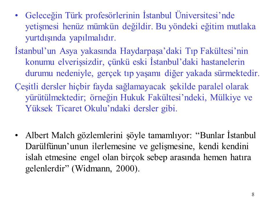 Geleceğin Türk profesörlerinin İstanbul Üniversitesi'nde yetişmesi henüz mümkün değildir. Bu yöndeki eğitim mutlaka yurtdışında yapılmalıdır.