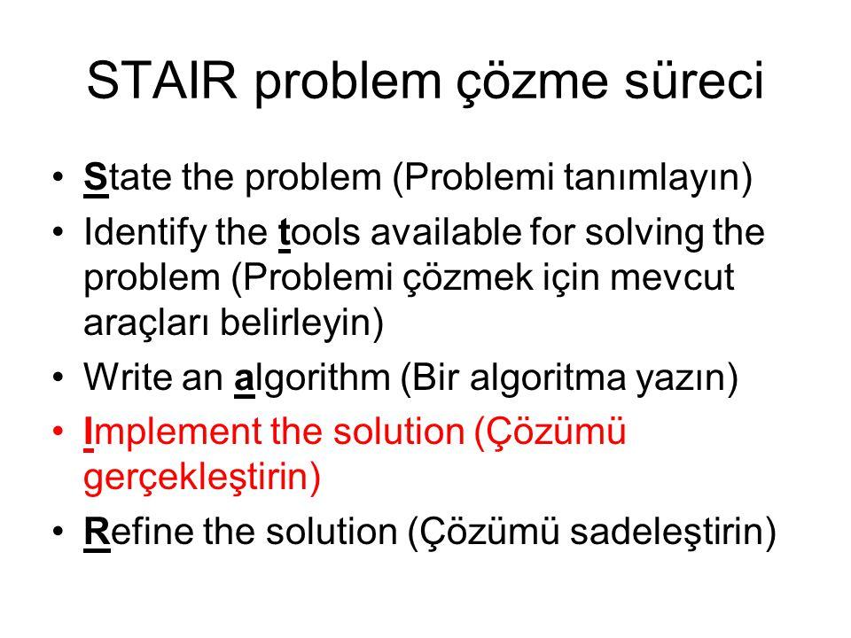 STAIR problem çözme süreci
