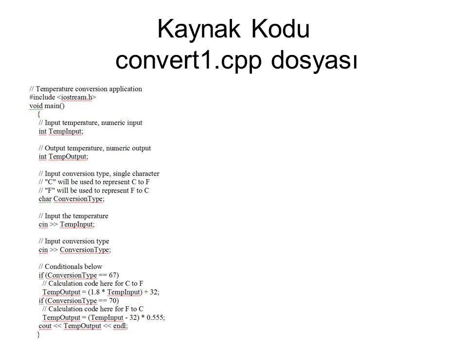 Kaynak Kodu convert1.cpp dosyası