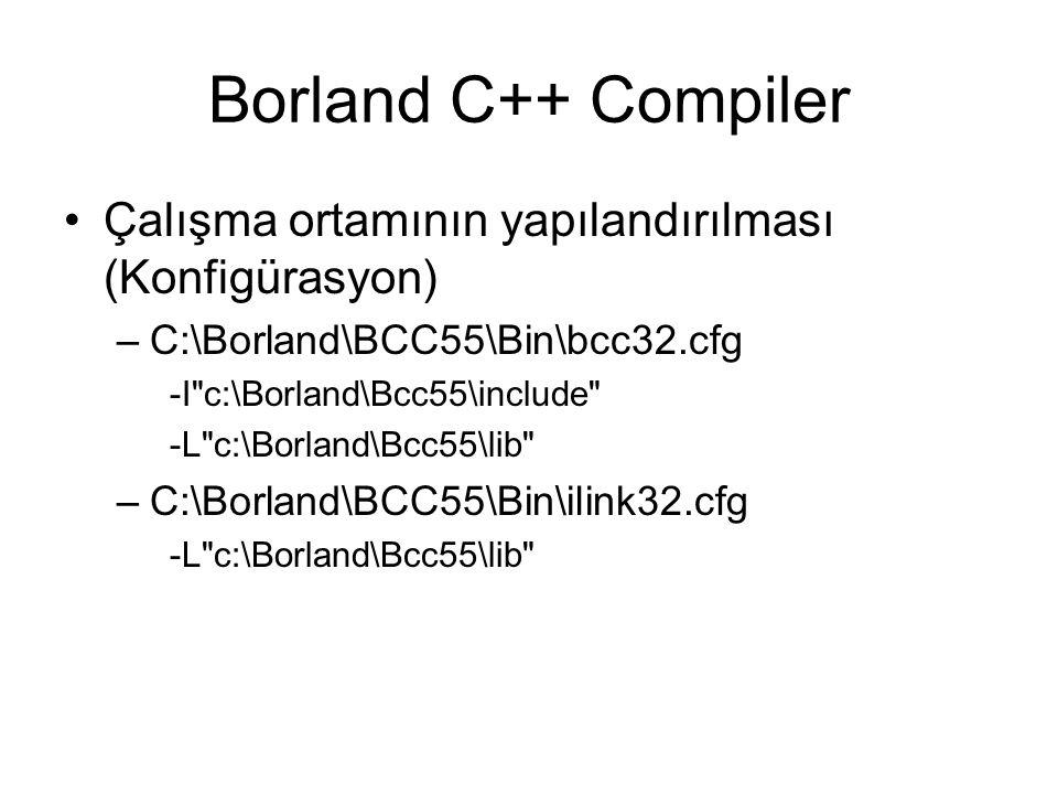 Borland C++ Compiler Çalışma ortamının yapılandırılması (Konfigürasyon) C:\Borland\BCC55\Bin\bcc32.cfg.