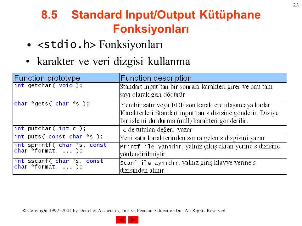 8.5 Standard Input/Output Kütüphane Fonksiyonları
