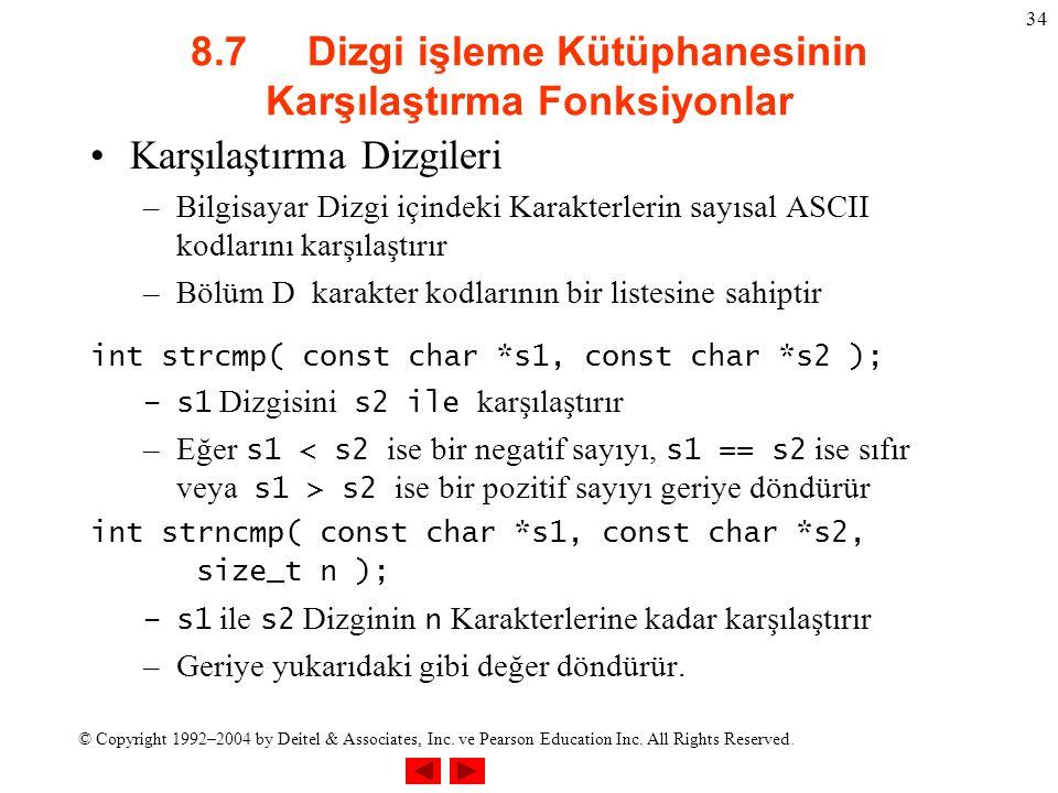 8.7 Dizgi işleme Kütüphanesinin Karşılaştırma Fonksiyonlar