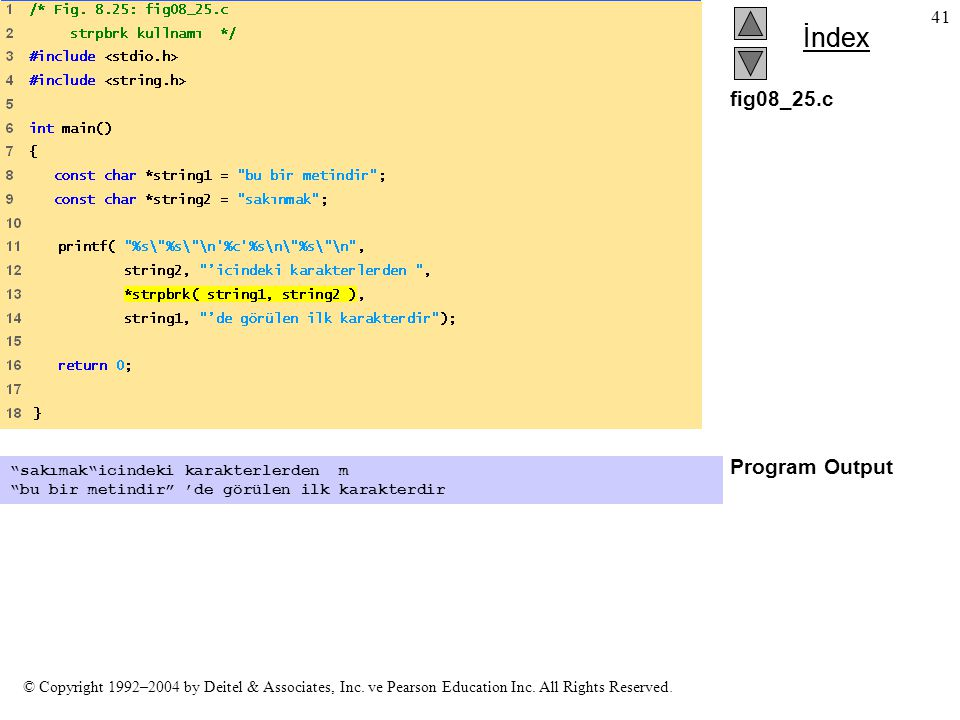 fig08_25.c Program Output sakımak icindeki karakterlerden m