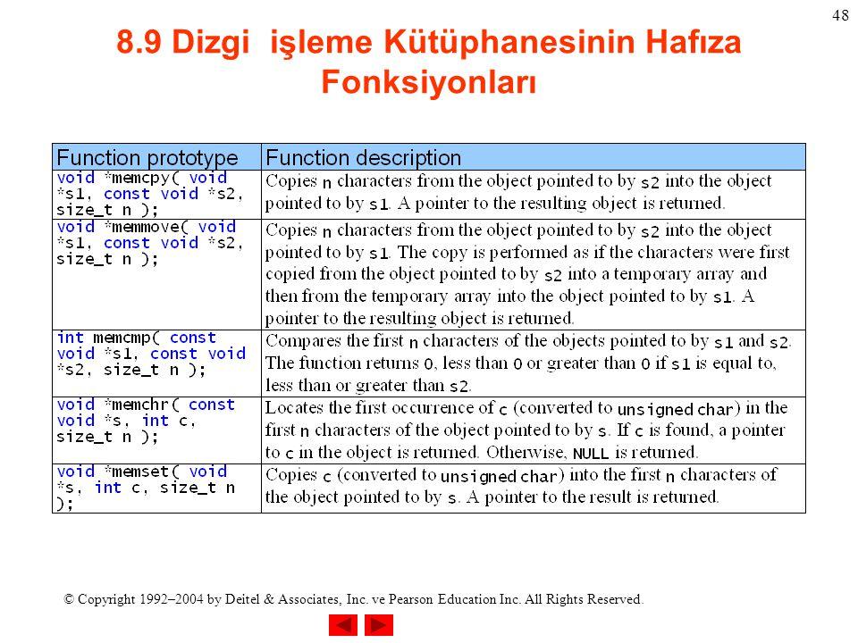 8.9 Dizgi işleme Kütüphanesinin Hafıza Fonksiyonları