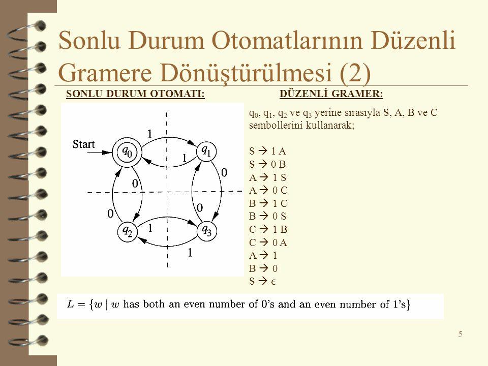 Sonlu Durum Otomatlarının Düzenli Gramere Dönüştürülmesi (2)