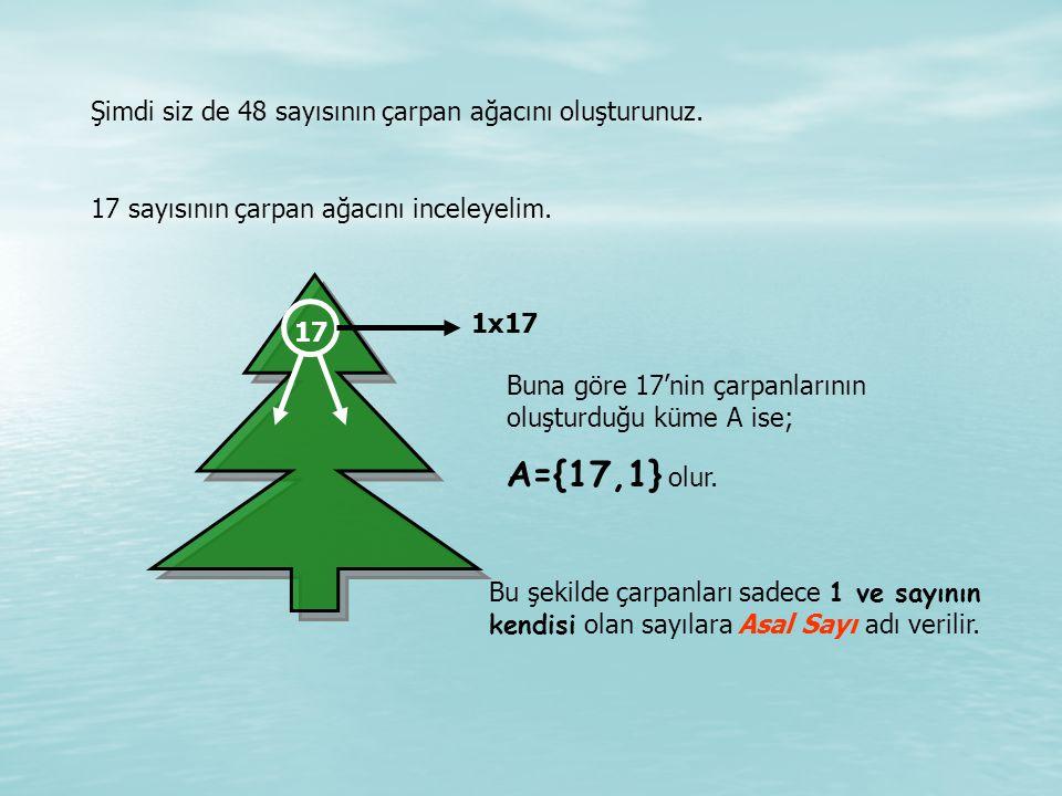 A={17,1} olur. Şimdi siz de 48 sayısının çarpan ağacını oluşturunuz.