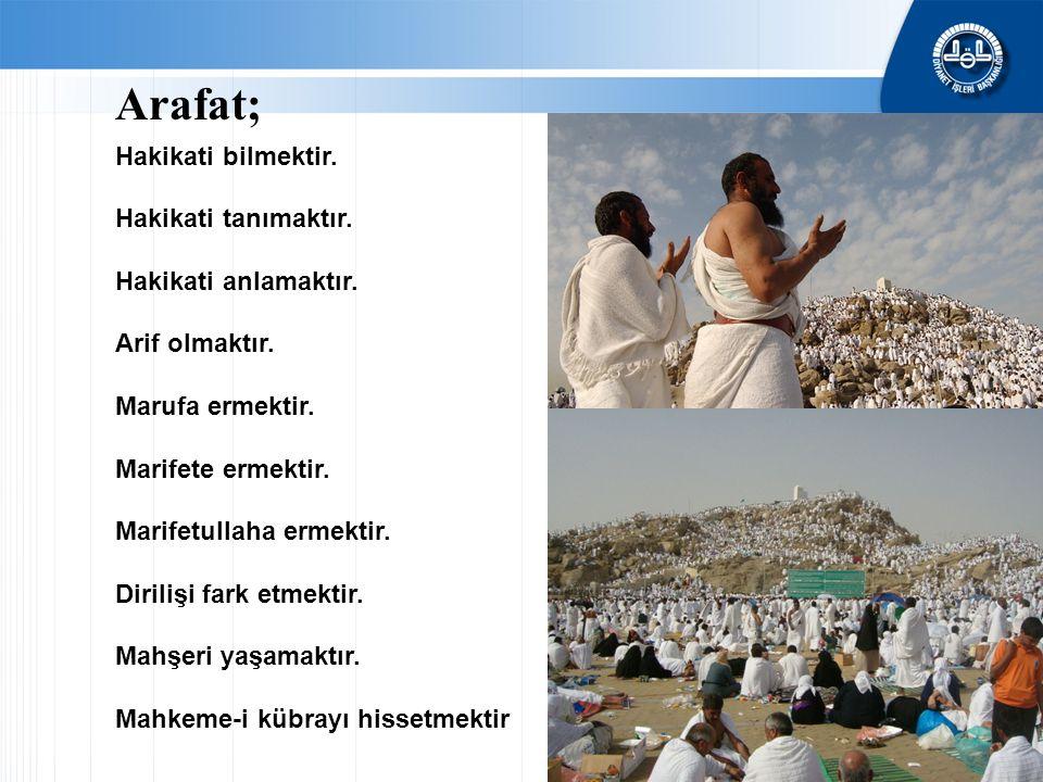 Arafat; Hakikati bilmektir. Hakikati tanımaktır. Hakikati anlamaktır.