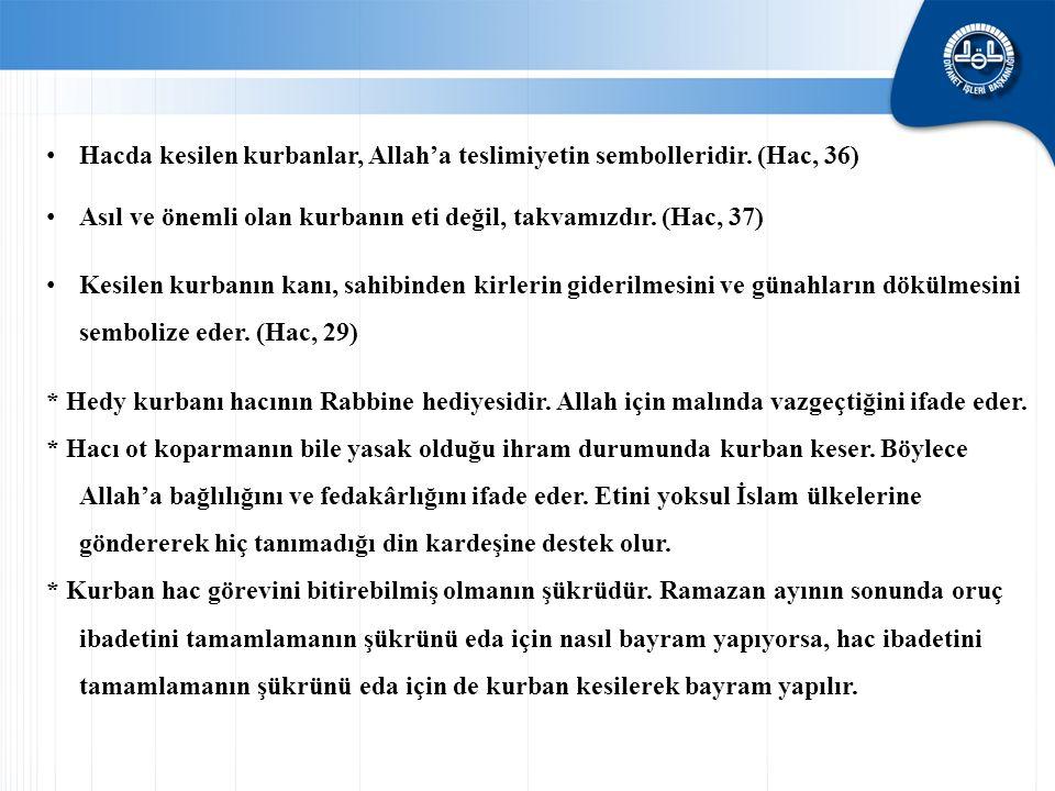 Hacda kesilen kurbanlar, Allah'a teslimiyetin sembolleridir. (Hac, 36)
