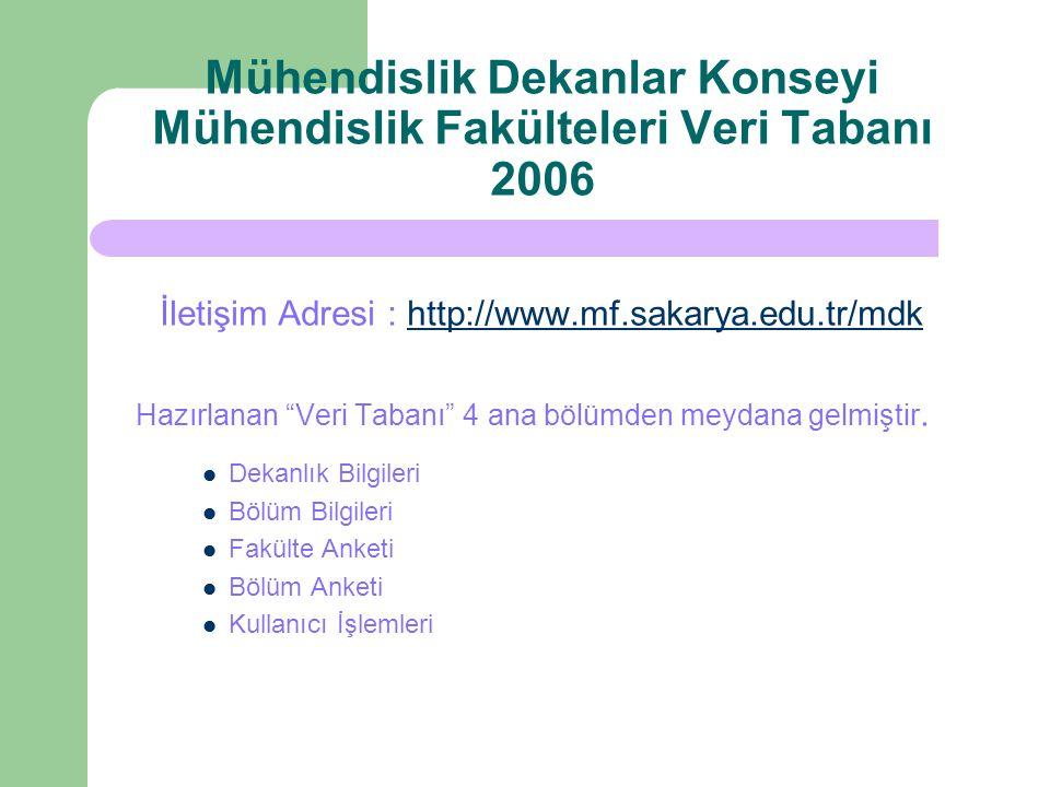 Mühendislik Dekanlar Konseyi Mühendislik Fakülteleri Veri Tabanı 2006