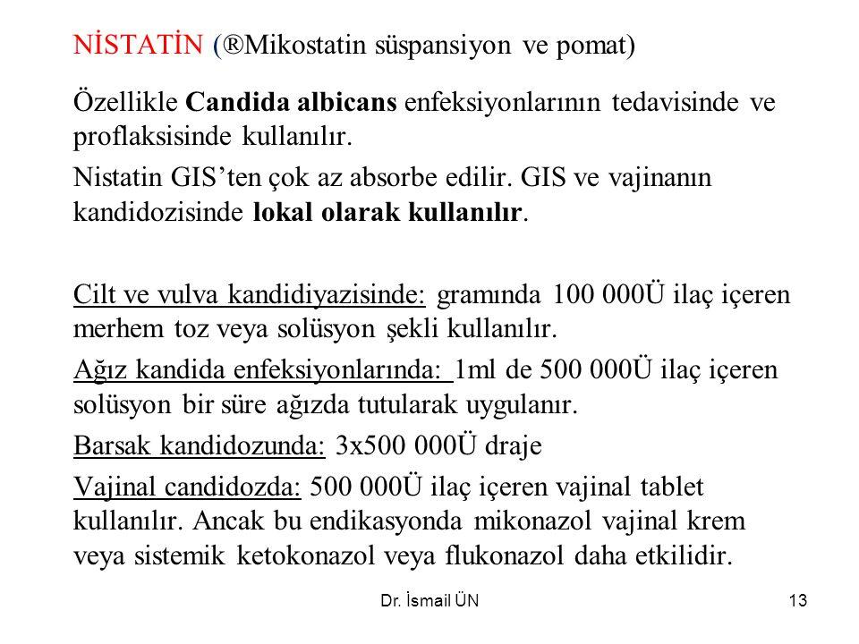 NİSTATİN (®Mikostatin süspansiyon ve pomat)
