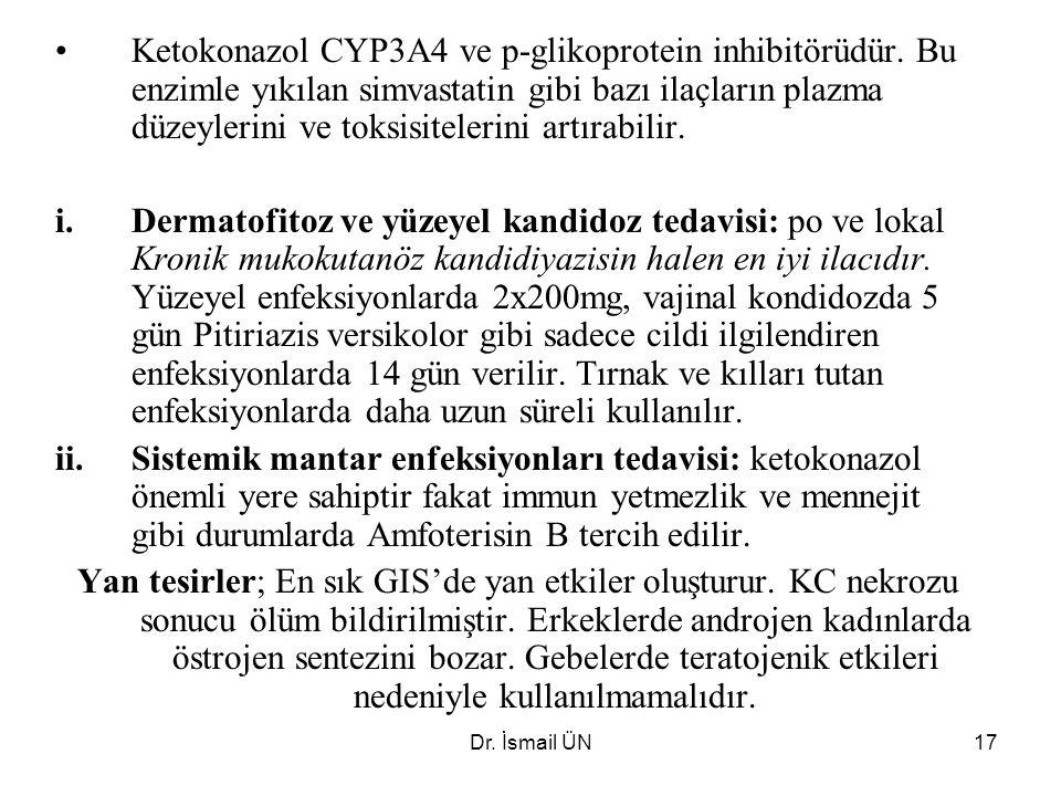 Ketokonazol CYP3A4 ve p-glikoprotein inhibitörüdür