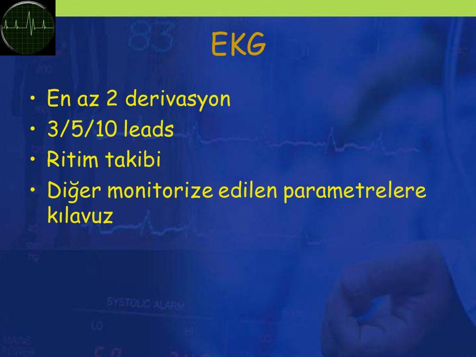 EKG En az 2 derivasyon 3/5/10 leads Ritim takibi