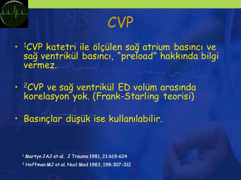 CVP 1CVP katetri ile ölçülen sağ atrium basıncı ve sağ ventrikül basıncı, preload hakkında bilgi vermez.