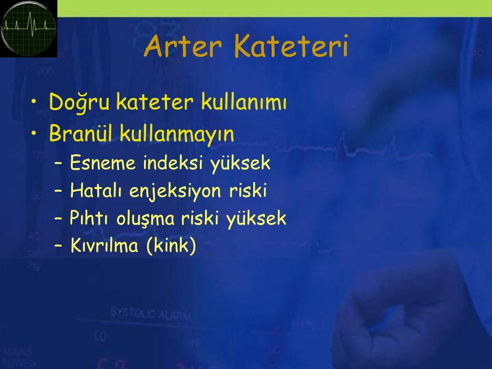 Arter Kateteri Doğru kateter kullanımı Branül kullanmayın