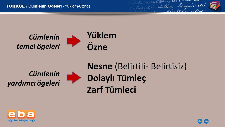 Nesne (Belirtili- Belirtisiz) Dolaylı Tümleç Zarf Tümleci