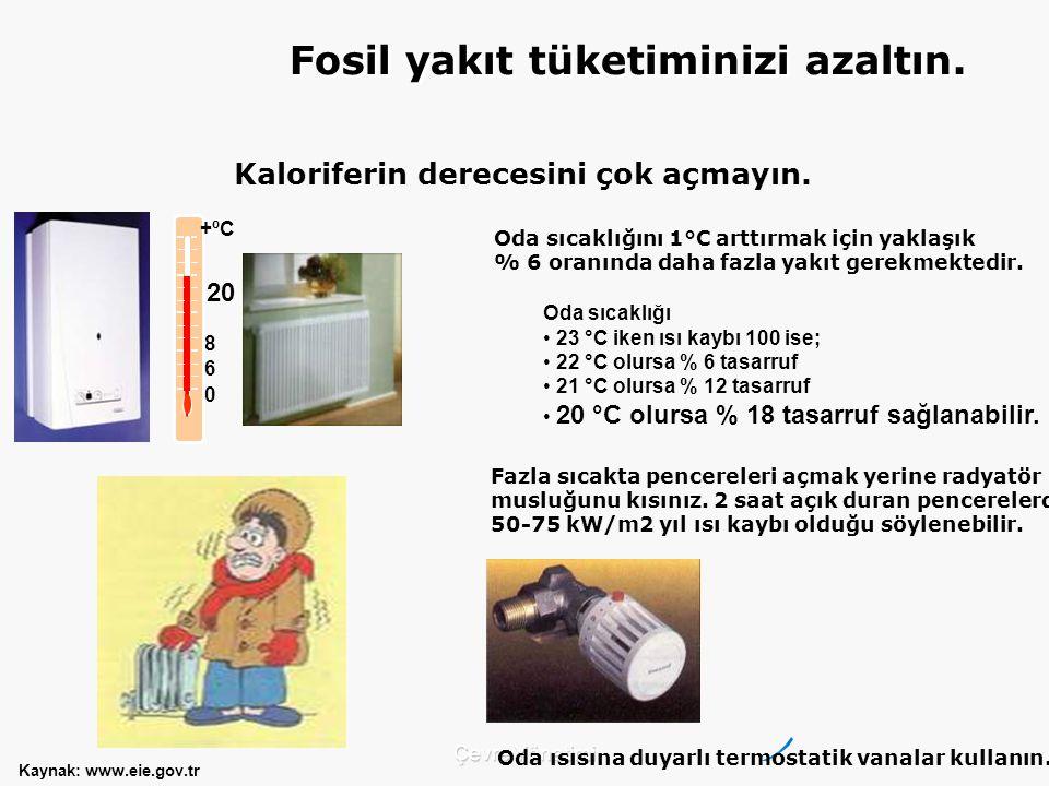 Fosil yakıt tüketiminizi azaltın. Kaloriferin derecesini çok açmayın.