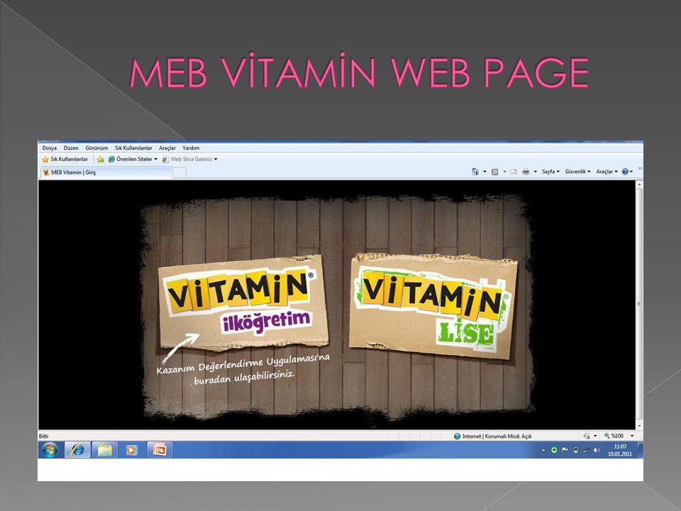 MEB VİTAMİN WEB PAGE