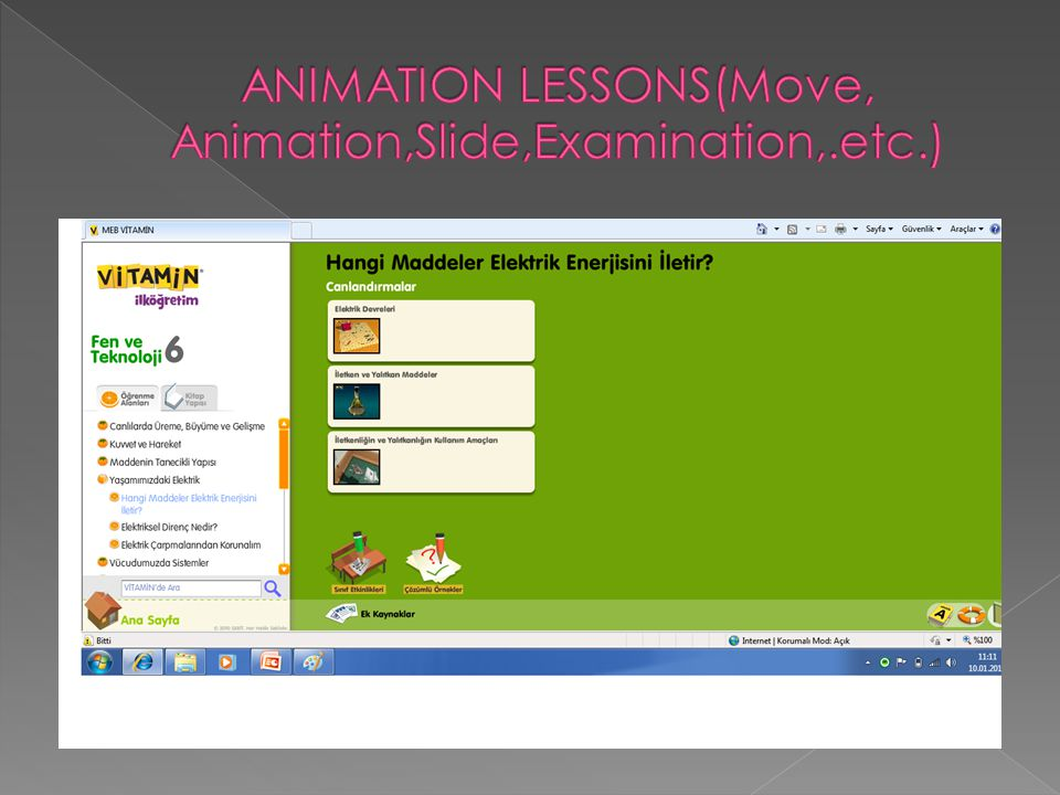 ANIMATION LESSONS(Move, Animation,Slide,Examination,.etc.)