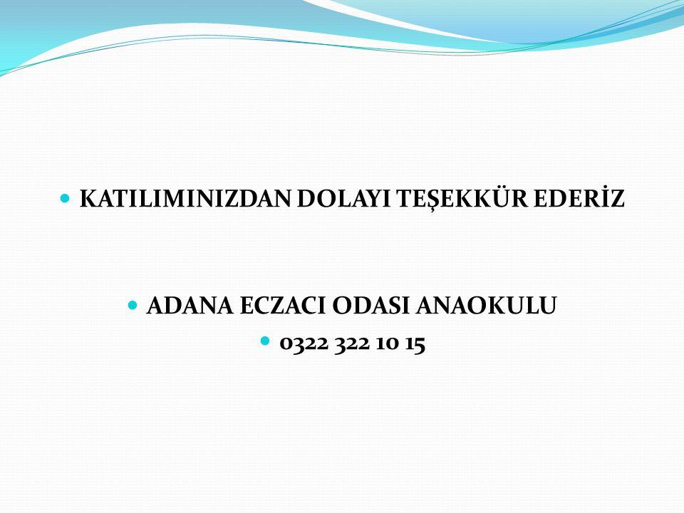 KATILIMINIZDAN DOLAYI TEŞEKKÜR EDERİZ ADANA ECZACI ODASI ANAOKULU