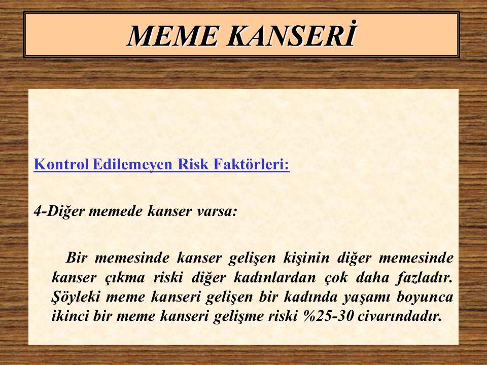 MEME KANSERİ Kontrol Edilemeyen Risk Faktörleri: