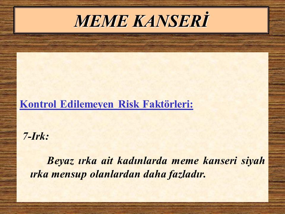 MEME KANSERİ Kontrol Edilemeyen Risk Faktörleri: 7-Irk: