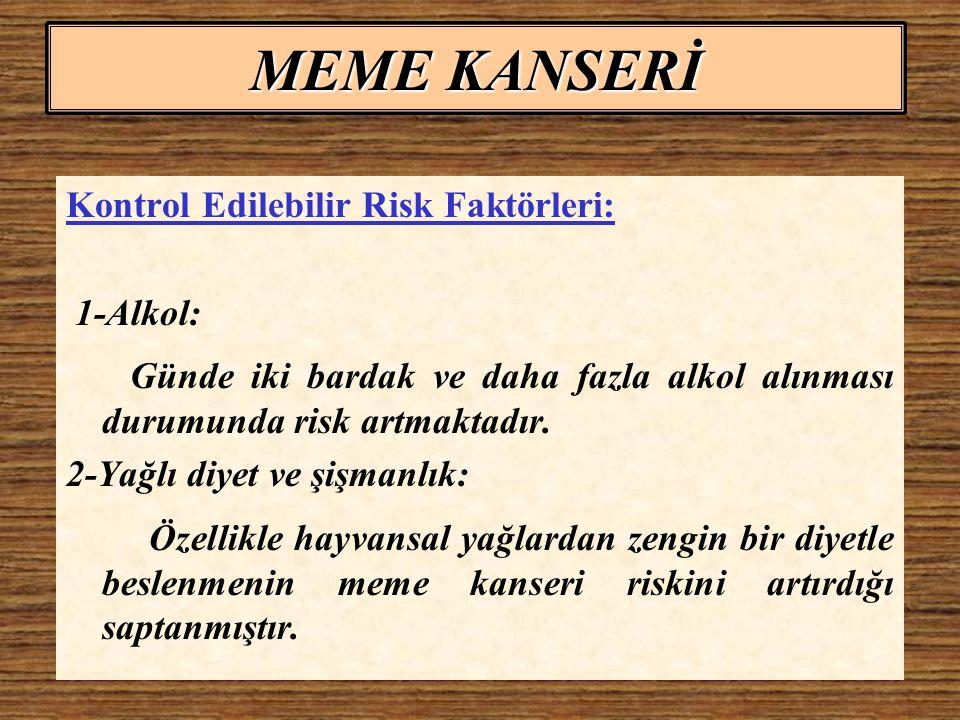 MEME KANSERİ Kontrol Edilebilir Risk Faktörleri: 1-Alkol: