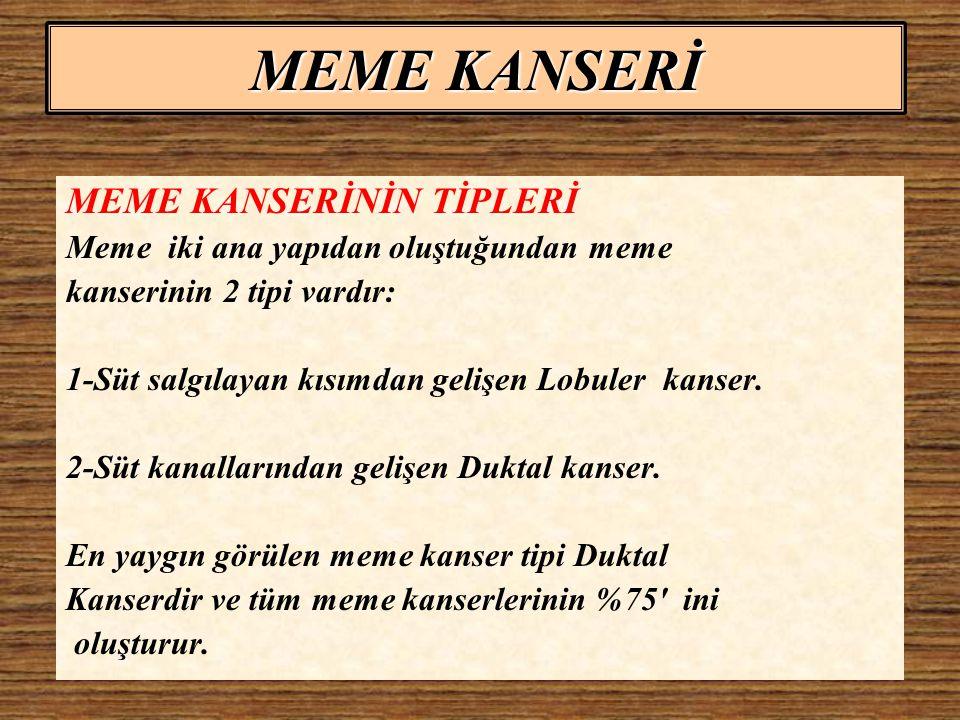 MEME KANSERİ MEME KANSERİNİN TİPLERİ