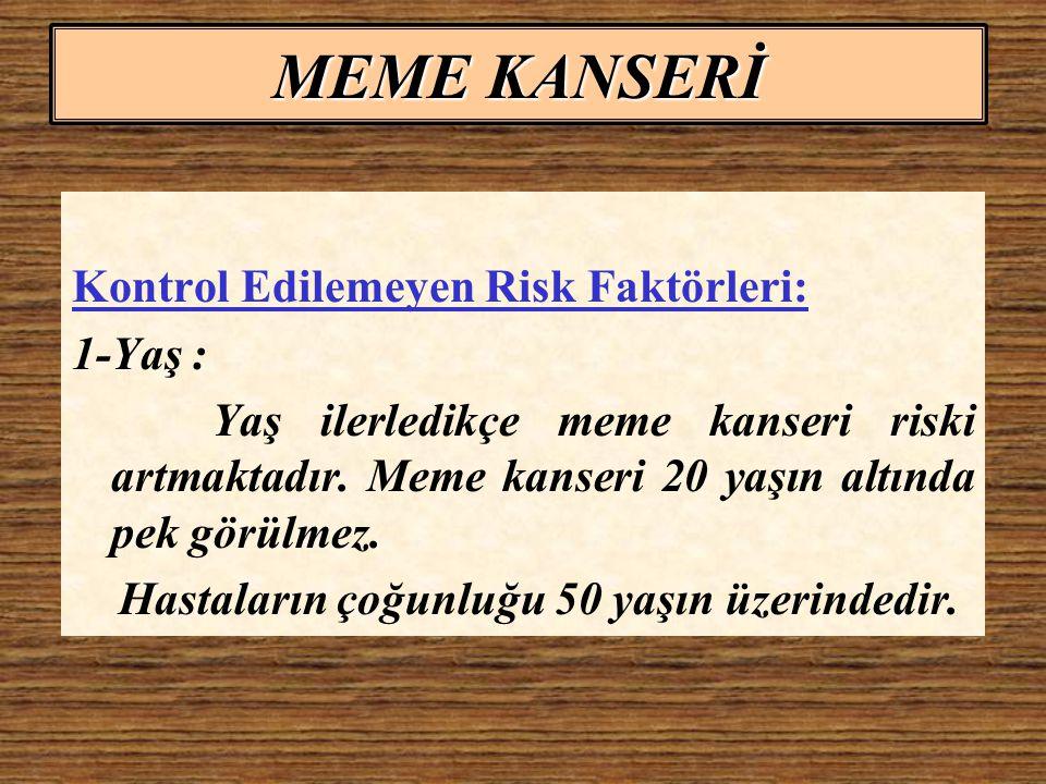 MEME KANSERİ Kontrol Edilemeyen Risk Faktörleri: 1-Yaş :