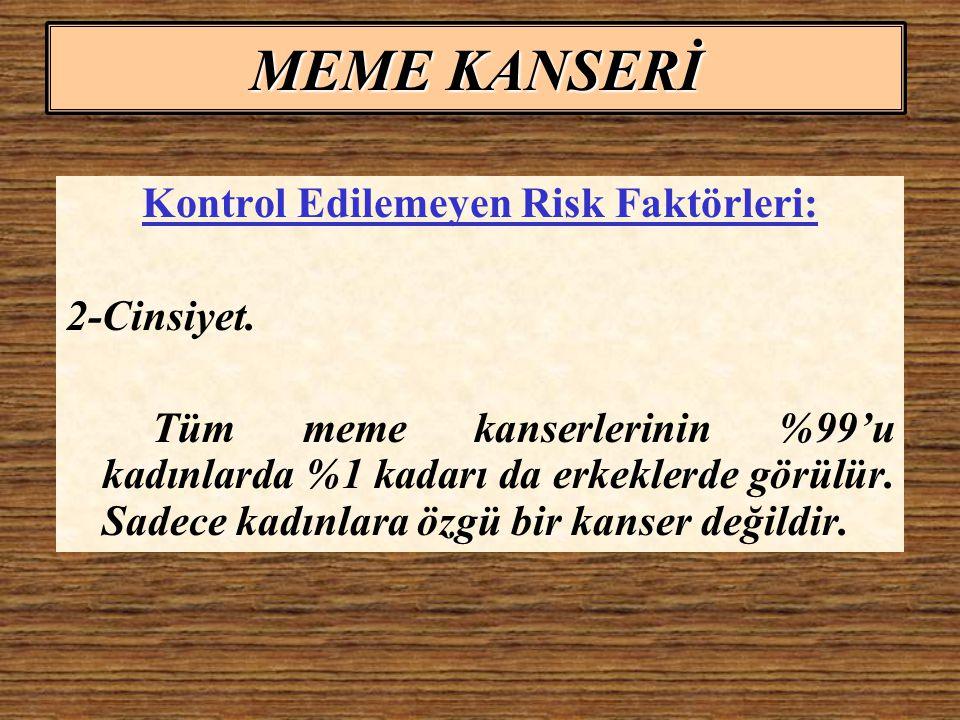 Kontrol Edilemeyen Risk Faktörleri: